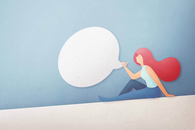 donna con fumetto del tono di voce